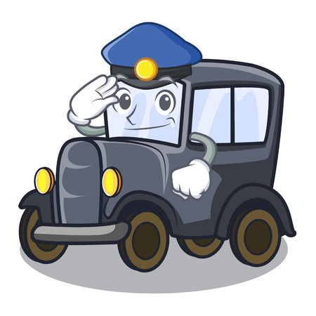 Police old car in the shape character vector illustration