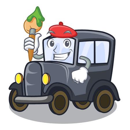 Artist old car in the shape character vector illustration Иллюстрация