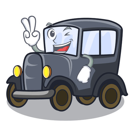 Two finger old car isolated in the cartoon vector illustration Çizim