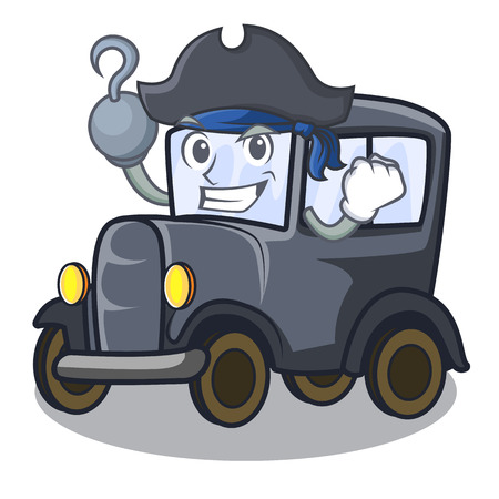 Pirate old car in the shape character vector illustration Иллюстрация
