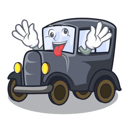 Crazy old miniature car in shape mascot vector illustration