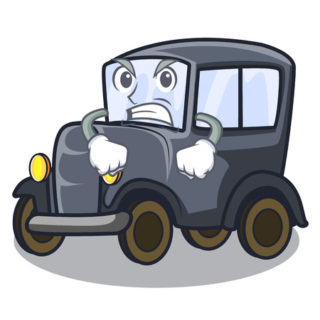 Angry old cartoon car in side garage vector illustration