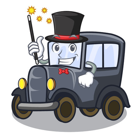 Magician old miniature car in shape mascot vector illustration Illustration