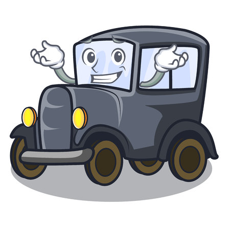 Grinning old car isolated in the cartoon vector illustration Çizim