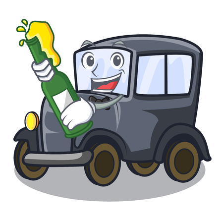 With beer old miniature car in shape mascot vector illustration