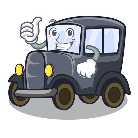 Thumbs up old car isolated in the cartoon vector illustration