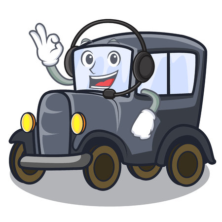 With headphone old miniature car in shape mascot vector illustration  イラスト・ベクター素材