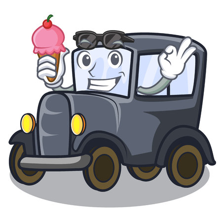 With ice cream old car isolated in the cartoon vector illustration