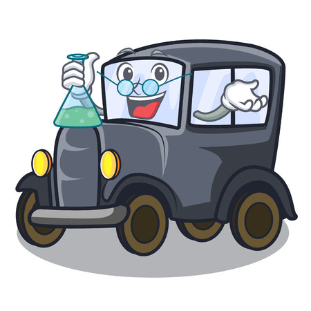 Professor old car isolated in the cartoon vector illustration