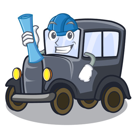 Architect old car isolated in the cartoon vector illustration Illustration