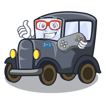 Gamer old cartoon car in side garage vector illustration