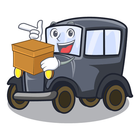 With box old car isolated in the cartoon vector illustration Çizim