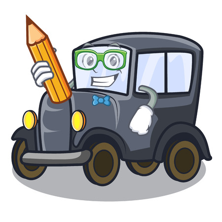 Student old car isolated in the cartoon vector illustration