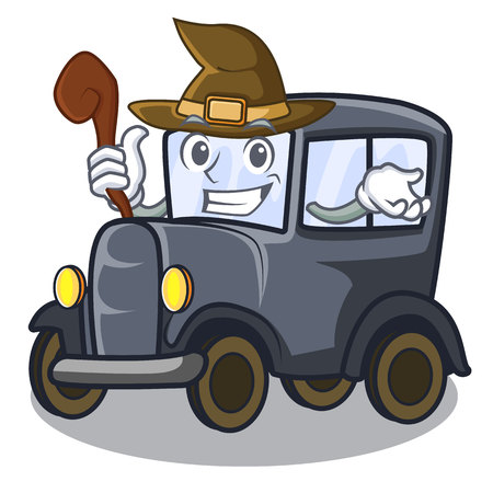 Witch old cartoon car in side garage vector illustration
