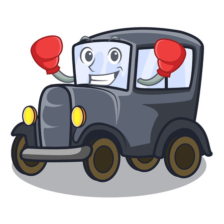 Boxing old car in the shape character vector illustration Çizim