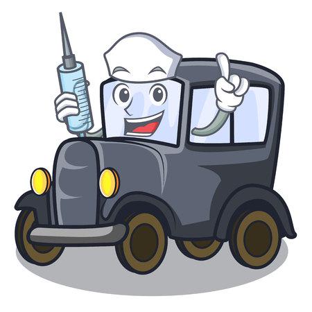 Nurse old car isolated in the cartoon vector illustration