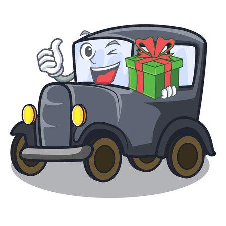 Mit altem Karikaturauto des Geschenks in der seitlichen Garagenvektorillustration