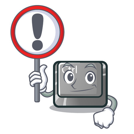 With sign ctrl button in the cartoon shape vector illustration Illustration