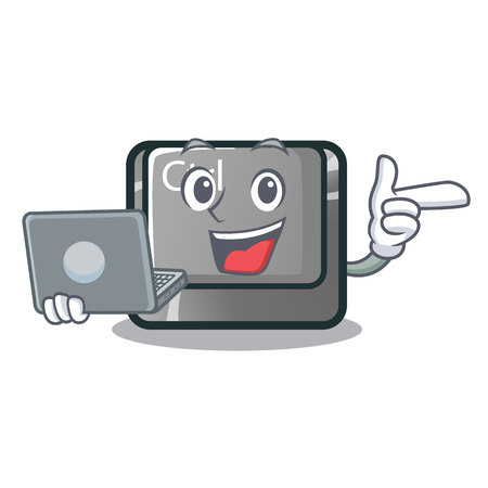 With laptop ctrl button in the cartoon shape vector illustration