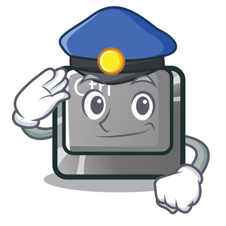 Police ctrl button in the cartoon shape vector illustration Illustration