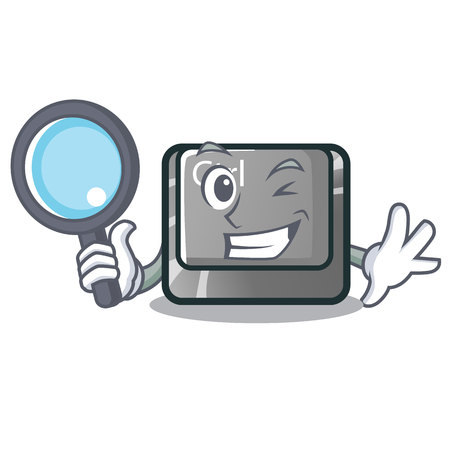 Detective ctrl button isolated in the mascot vector illustration Illustration