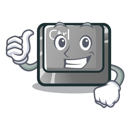 Thumbs up ctrl button isolated in the mascot vector illustration