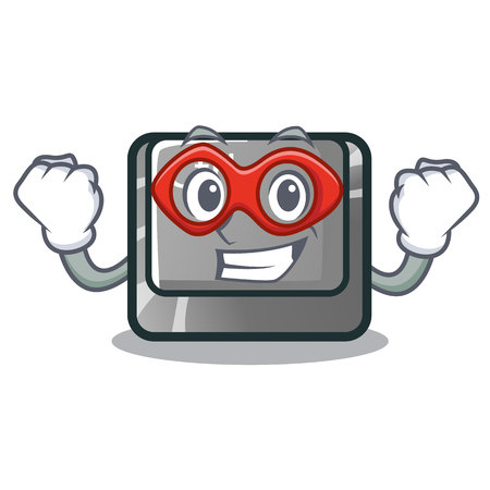 Super hero ctrl button isolated in the mascot vector illustration