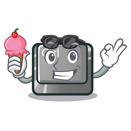 With ice cream ctrl button isolated in the mascot vector illustration