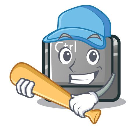 Playing baseball ctrl button in the cartoon shape vector illustration Vector Illustration