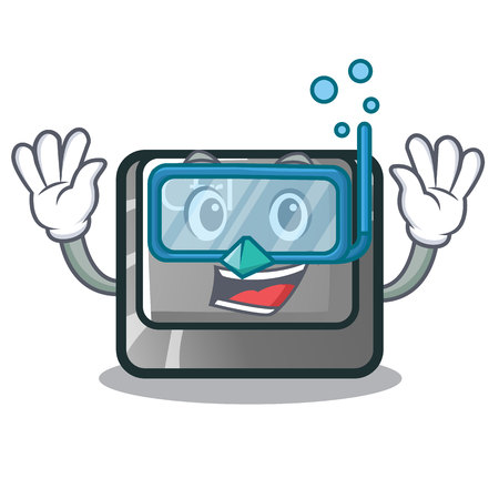 Diving ctrl button isolated in the mascot vector illustration