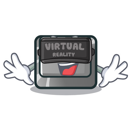 Virtual reality character ctrl button attached on computer vector illustration