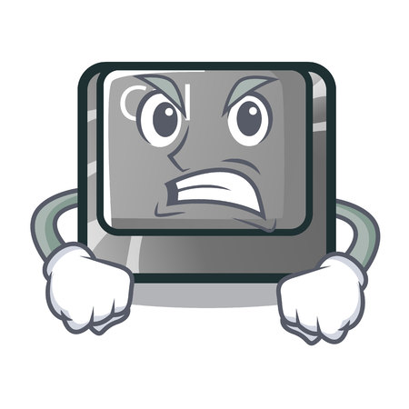 Angry character ctrl button attached on computer vector illustration Illustration