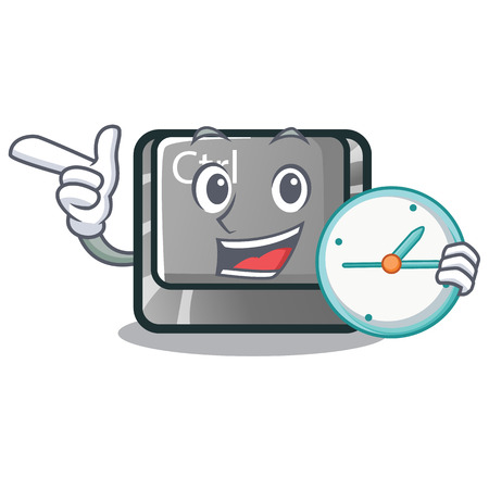With clock ctrl button isolated in the mascot vector illustration
