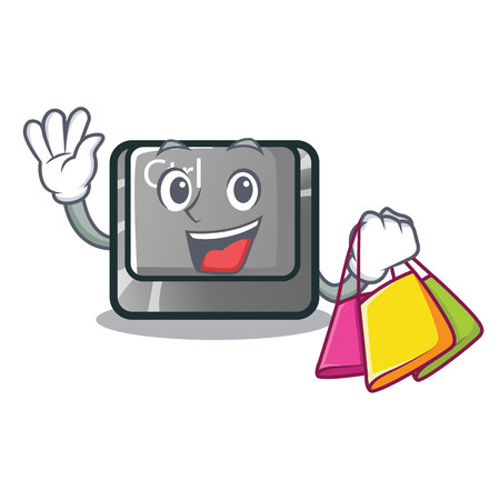 Shopping ctrl button isolated in the mascot vector illustration