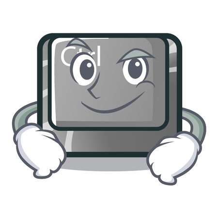 Smirking ctrl button isolated in the mascot vector illustration