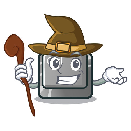 Witch character ctrl button attached on computer vector illustration