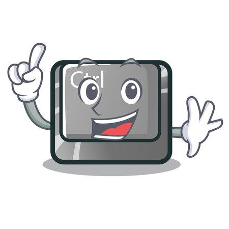 Finger ctrl button on the cartoon keyboard vectoir illustration Illustration