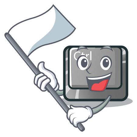 With flag ctrl button on the cartoon keyboard vectoir illustration