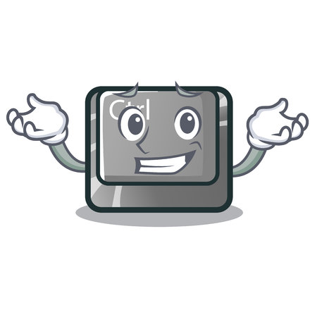 Grinning ctrl button isolated in the mascot vector illustration