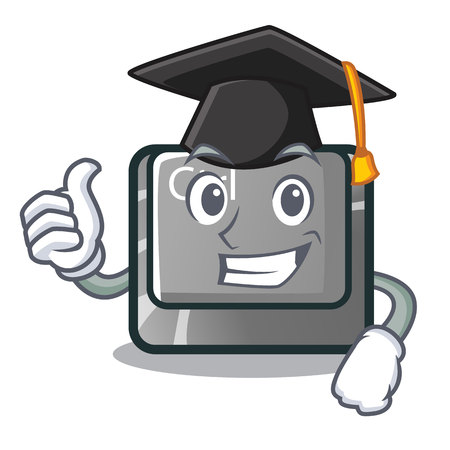 Graduation ctrl button isolated in the mascot vector illustration