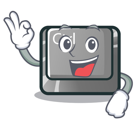 Okay ctrl button isolated in the mascot vector illustration