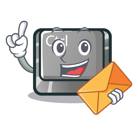 With envelope ctrl button isolated in the mascot vector illustration Illustration
