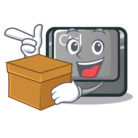 With box ctrl button isolated in the mascot vector illustration