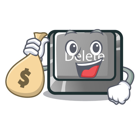 With money bag button delete isolated with the character vector illustration Çizim
