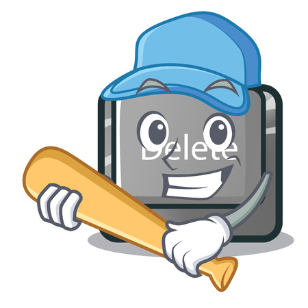 Playing baseball button delete isolated with the character vector illustration Çizim