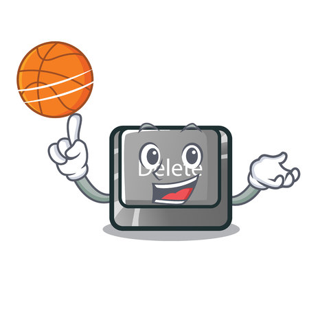 With basketball button delete isolated with the character vector illustration