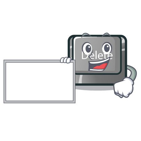 With board button delete isolated with the character vector illustration Çizim
