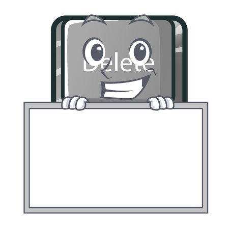 Grinning with board button delete isolated with the character vector illustration
