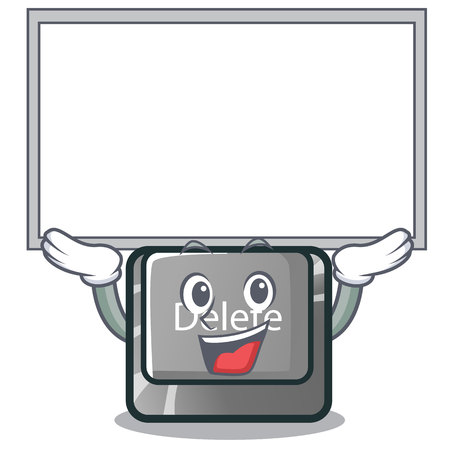 Up board button delete isolated with the character vector illustration