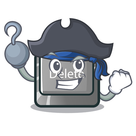 Pirate button delete isolated with the character vector illustration Çizim